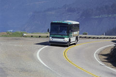 Bus on mountain road Royalty Free Stock Photography