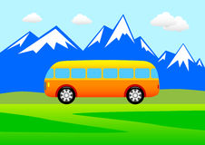 Bus in the mountains Stock Images