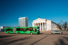 Bus Moving Along Street Near Building Of Gomel Regional Drama Th Stock Image