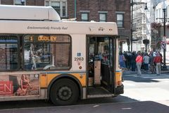 Public bus seen just disembarked in Harvard, MA, near the famous university. Royalty Free Stock Photography