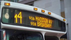 Bus in New York. Public bus in New York city stock video footage