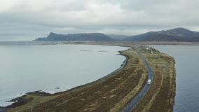 A bus in North Norway. A bus at The Andoya Island in North Norway stock video