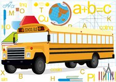 Bus On The Background Of School Supplies Royalty Free Stock Image