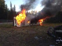 Bus op brand Royalty-vrije Stock Afbeeldingen