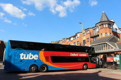 Bus in Oxford Tube livery at Oxford bus station Royalty Free Stock Image