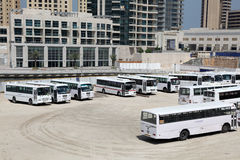 Bus parking in Dubai Royalty Free Stock Photography