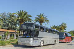 Bus on the parking by a hotel Royalty Free Stock Image