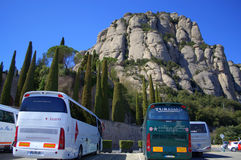 Bus parking in Montserrat mountain,Spain Stock Photo