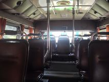 On the bus without passengers in Bangkok, Thailand royalty free stock image