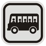 Bus passengers, black silhouette, bus and people,  vector icon Royalty Free Stock Image