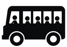 Bus passengers, black silhouette, bus and people,  vector icon Stock Photography