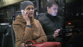 Bus Passengers Using Gadgets stock video footage