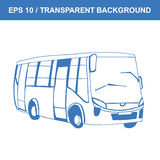 Bus. Picture of old transportation. Vector hand drawn sketch. Retro bus. Picture of old transportation. Vector hand drawn sketch Royalty Free Stock Photos