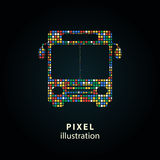 Bus - pixel illustration. Bus - pixel icon. Vector Illustration. Design logo element. Isolated on black background. It is easy to change to any color Royalty Free Illustration