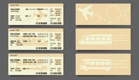Airplane Bus Train tickets concept design Royalty Free Stock Photo
