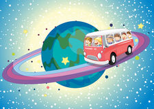 Bus on planet Stock Photo