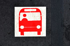Bus platform sign and symbol Royalty Free Stock Photos