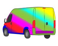 Bus with rainbow aerography vector drawing royalty free stock photo