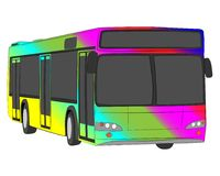 Bus with rainbow aerography vector drawing stock images