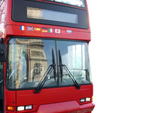 Bus with reflection of arc triumph, Paris, France. Isolated with clipping path Stock Image