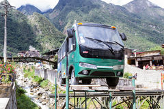 Bus replica on a platform. Machu Pichu, Peru - May 17 : Replica of a tour bus, the only vehicles allowed in the town of Machu Pichu besides the Train. May 17 Royalty Free Stock Images
