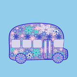 Bus retro vintage flowers hippie transport Royalty Free Stock Image