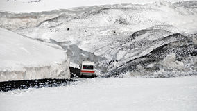 Bus-ride on the snowcovered Mount Etna Stock Photography
