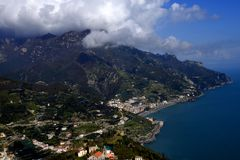 Ravello is high above the Amalfi Coast in Southern Italy. It is a beautiful hill town with fantastic views over the coastline. The bus ride up from Amalfi is Stock Photography
