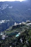 Ravello is high above the Amalfi Coast in Southern Italy. It is a beautiful hill town with fantastic views over the coastline. The bus ride up from Amalfi is Stock Photo