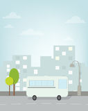 Bus rides around town. vector image Royalty Free Stock Photography