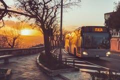 Bus in the sundown stock image