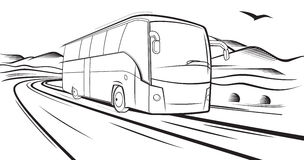 Bus rides on the road. Vector sketch, Bus quickly rides on the road in the country Royalty Free Stock Photos