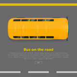 Bus on Road Conceptual Flat Vector Web Banner. Bus on road conceptual web banner. Yellow bus goes on highway flat vector illustration. Modern urban transport and Stock Photos