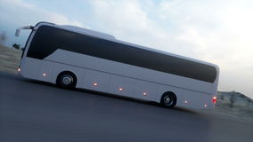 Bus on the road, highway. Very fast driving. Super realistic animation. stock video