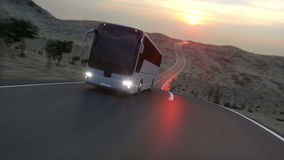 Bus on the road, highway. Very fast driving. Super realistic animation. stock footage