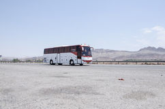 Bus. On the road, Qom-Tehran freeway Royalty Free Stock Photo