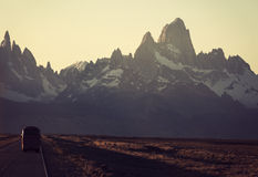 Bus on the road towards Fitz Roy and Cerro Torre Royalty Free Stock Image