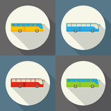 Bus round flat icon with long shadows. Stock Image