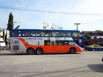Bus route bangkok and tak. Double deck bus class 2, seat and aircondition except food and other service, for save transport in thailand Stock Photography