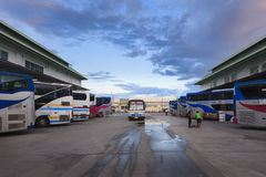 The bus is running to picks passengers up at the Bangkok Bus Ter Royalty Free Stock Photo