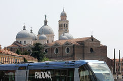 Bus runs along the Basilica of St. Anthony, Padua Royalty Free Stock Images