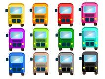 Bus in 12 schönen Farben stock abbildung