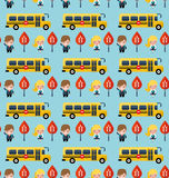 Bus and school children pattern Stock Photos