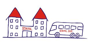 Bus and school. Vector icon, sketch. Blue contour and red text and roof Royalty Free Stock Photos
