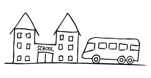 Bus and schoolhouse Stock Image