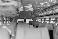 Bus with seats. Black and white. Royalty Free Stock Images