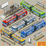 Bus Set 02 Vehicle Isometric Royalty Free Stock Photos