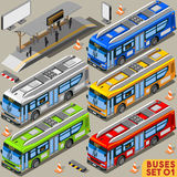 Bus Set 01 Vehicle Isometric Stock Photos