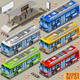 Bus Set 01 Vehicle Isometric Stock Photos