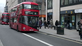 Bus at Shaftesbury Avenue in London Stock Photos